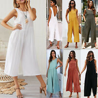 Women Summer Jumpsuit Romper Wide Leg Long Pants Casual Loose Holiday Trousers