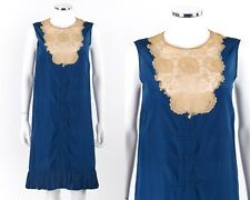 Vtg Couture c.1920's Blue Silk & Beige Floral Lace Sleeveless Slip Shift Dress