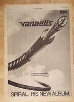 Vangelis Spiral 1977 press advert Full page 28 x 38cm poster
