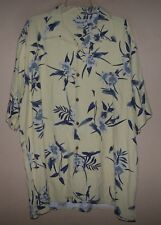 Men's XL 7109 PARADISE COVES Yellow HAWAIIAN Floral Button Camp Shirt 100% SILK