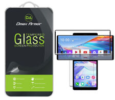 (2x Glass Main +2x PET Dual) Tempered Glass Screen Protector for LG Wing (Black)