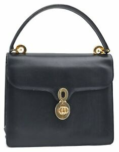Authentic GUCCI GG Shoulder Hand Bag Leather Blue Navy E0567