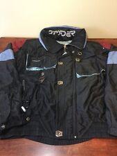 SPYDER Ski Snowboard Jacket Men's XL Black Convertible To Vest With Zip-on Hood