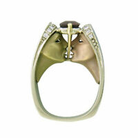 Unique Smokey Topaz Human Face Women Men 18K Gold Plated Ring Jewelry Size6-10