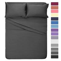 1000 Thread Count Egyptian Cotton Complete Bedding Items UK-Size Dark Grey Solid