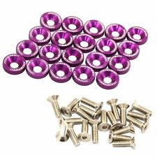 PURPLE  20 PC BILLET ALUMINUM FENDER/BUMPER WASHER/BOLT ENGINE BAY DRESS UP KIT