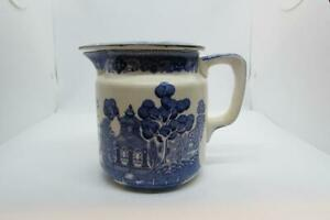 Early 1900s Blue Willow Buffalo Pottery Batter Jug with Cover