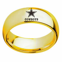 Dallas Cowboys Football Ring Titanium Stainless Steel Gold 6 7 8 9 10 11 12 13