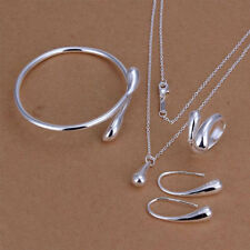 Women 925 sterling silver Teardrop Necklace Set Pendant Bracelet Jewelry Gift