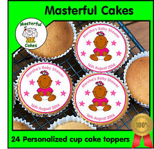 24 Personalizada Chica Diseño Baby Shower Comestibles Papel De Arroz Cup Cake Toppers