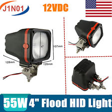 2X 4INCH 55W HID OFFROAD DRIVING FLOOD LIGHTS 4X4WD UTE ATV WORK 12V SQUARE 7/9