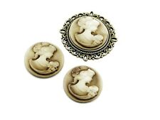 4 Cabochons/kamee In beige 20 Mm