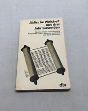 German Book Jüdische Weisheit aus drei Jahrtausenden Jewish Wisdom Foreign Lang