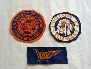 Rare 1920's University of ILLINOIS DECALS & RIBBON - CHIEF ILLINI w/Swastika