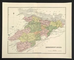 Map of LINLITHGO SHIRE by W H Lizars 1865 engraved with wash and outline colour