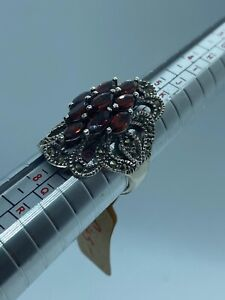 Beautiful Vintage Sterling Silver Bohemian Garment Marcasite Fancy Ring