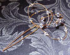 24 ct GOLD CLAD BLUE CRYSTAL HAIRPIN, DESIGNER BRIDAL, BRIDESMAID,NEW, AUSTRALIA