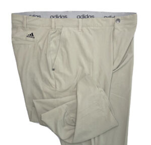 Adidas Golf Pants Climalite Athletic Flat front Light Beige Men Sz 40 x 32