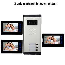 "3 Units Apartment intercom system 7"" Monitor Video Door Phone Doorbell Wired 1V3"