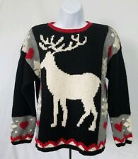 Northern Isles Hand Knitted Beautiful Ugly Christmas Sweater Reindeer S Small