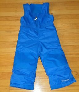 COLUMBIA Kids Snow Ski Bib Pants Blue Size 3T Toddler Fleece Upper