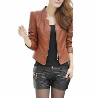 Women Vintage Slim Biker Motorcycle PU Soft Leather Zipper Jacket Coat  Fashion