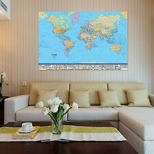 World Map Wall Home Decoration Big Large With Country Flags