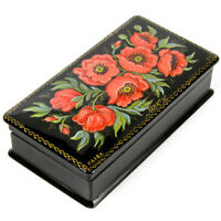 """5x2.6"""" Trinket Box. Russian Lacquer Box w/ Hand Painted Poppy Flowers PALEKH"""