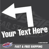 CUSTOM TEXT LEFT ARROW DOOR SIGN STICKER Decal Car Vinyl Personalized Text #6...