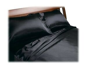 Royal Opulence Divatex Home Fashions Satin Full Sheet Set, Black