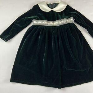 GOOD LAD Philadelphia 4T Dark Green Velvet Long Sleeve Collared Pearl Dress K21