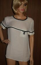 DSQUARED2 Ivory black 100% SILK Blouse Top 42 US 8 new