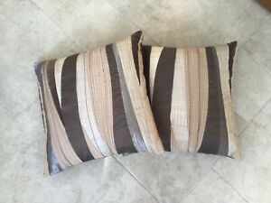 Two John Lewis Silk & Cotton Brown Cushion Covers 16 x 16 ins