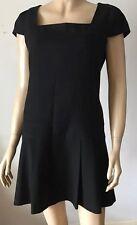 WAREHOUSE Black Boxpleat Square Neck Cap Sleeve Dress Size 12