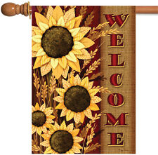 Toland Welcome Sunflowers 28 x 40 Colorful Yellow Flower Fall Autumn House Flag