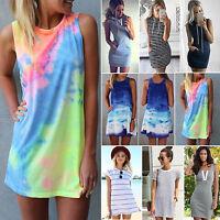 Women Summer Casual Tunic Short Mini Dress Tops Beach Holiday Sundress UK 6-14