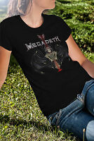 MEGADETH Women Black T-shirt Heavy Metal Band Tee Shirt