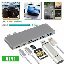 6in1 Type C USB C Hub Adapter 3.0 ports Card Reader 4K HDMI For MacBook Pro