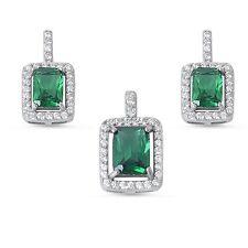 Princess Cut Emerald & Cubic Zirconia .925 Sterling Silver Earring Set