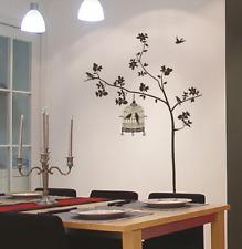 Árbol grande y jaula de pájaro Hogar Decoración Pared Calcomanías