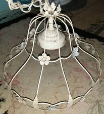 Vintage Hanging Ceiling Light Floral Metal Toleware Shabby Cottage Farmhouse