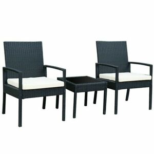 Outdoor Rattan Patio Furniture Set - 3 Piece 2 chairs and 1 table modern design