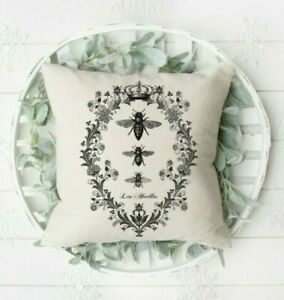 French Country, Pillow Cover, 3 Bees, Handmade, Easter, Mother's Day