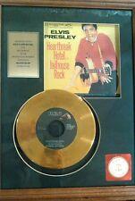 Authentic Elvis Presley Heartbreak Hotel & Jailhouse Rock framed gold record BG