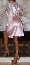 S / M SHINY PINK SATIN & LACE SLEEVE VTG STYLE LINGERIE ROBE