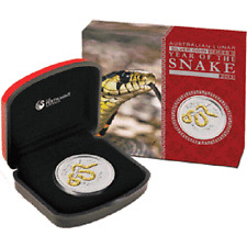 Perth Mint Australia 2013 Snake 1 oz .999 Silver Coin Gilded with 24K Gold