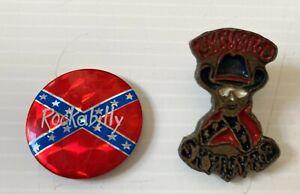 lynyrd skynyrd vintage 2 x pin button GUN COW BOY SKULL hard rock rare b