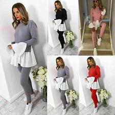 Ladies Women Knitted Contrast Peekaboo Frill Sleeves Lounge wear Tracksuit Set