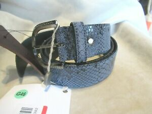 NWT Cantarelli Belt Hand Made Italy BLUE SNAKESKIN Pattern Leather 90 / 34 Large