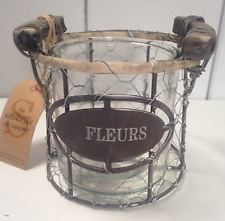 Rustic Wood, Metal & Wire 'Fleurs' Candle/Plant Holder & Chunky Glass Inner Jar